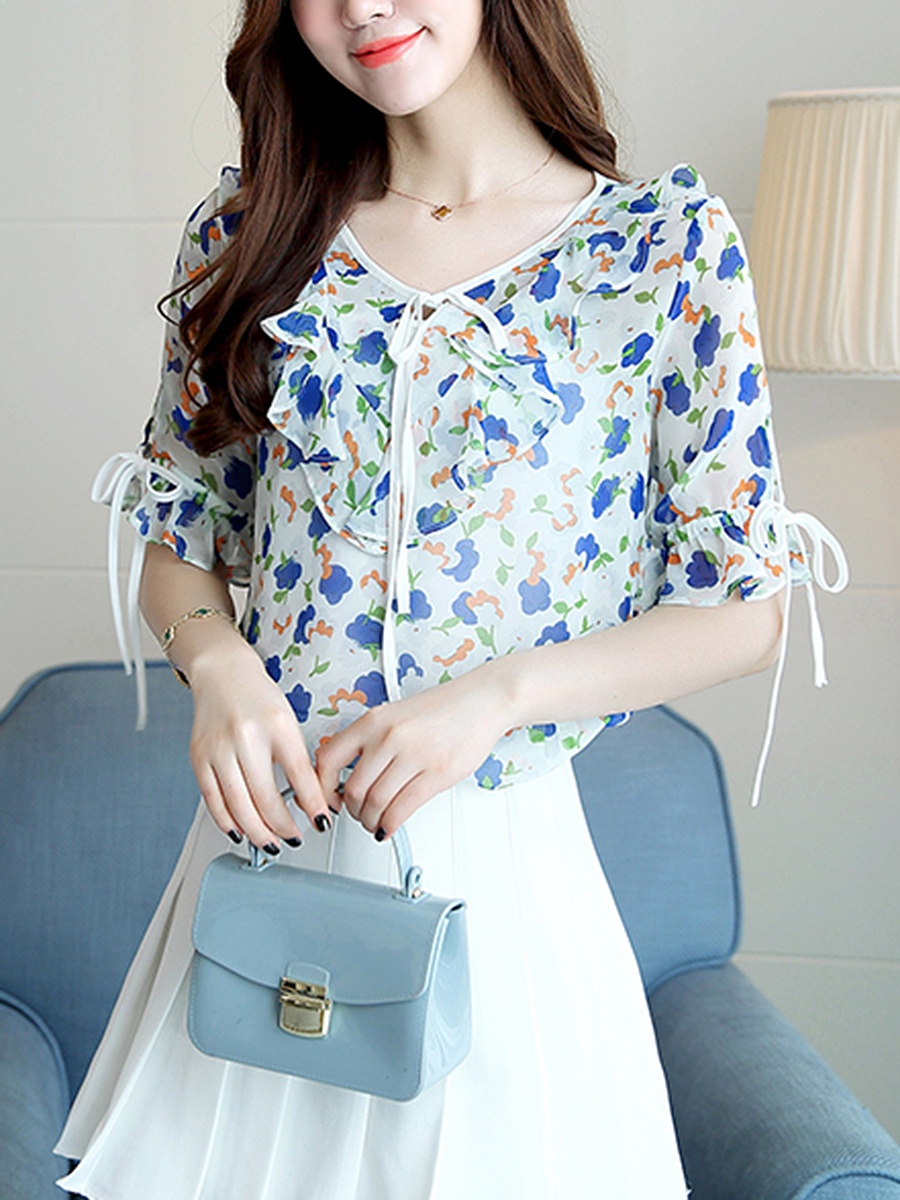 Tie Collar  Ruffle Trim  Floral Hollow Out Blouse