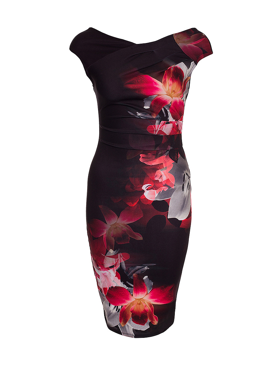 V-Neck  Floral Printed Extraordinary Bodycon Dress