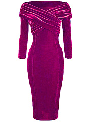 Off Shoulder Ruched Solid Velvet Bodycon Dress