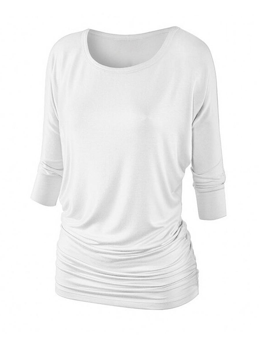 Round Neck Plain Batwing Sleeve T-Shirt