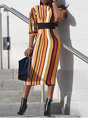 Crew Neck  Belt Loops  Vertical Striped Bodycon Dress
