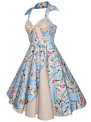 Halter Bowknot Floral Printed Skater Dress