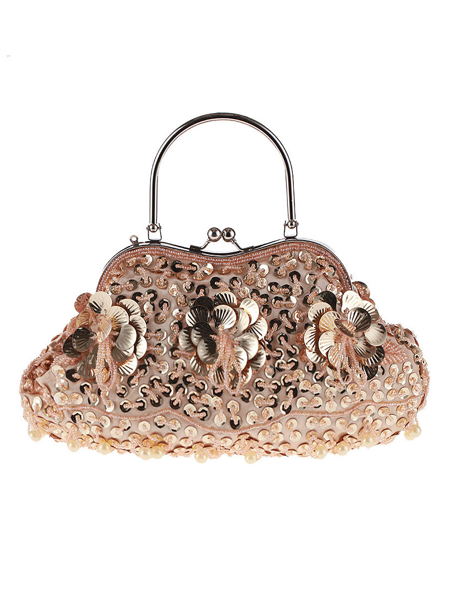 Floral Beading Glitter Evening Clutch Bag