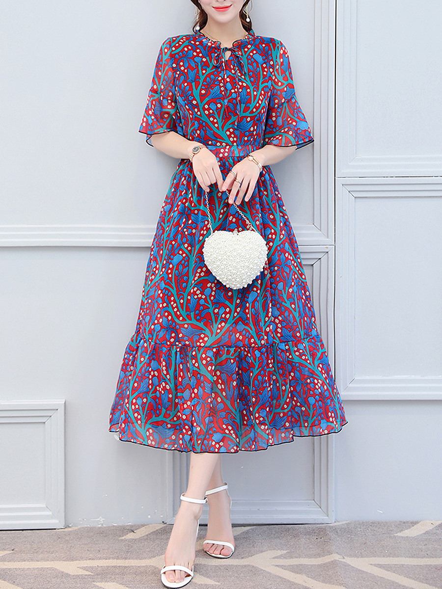 Tie Collar  Ruffled Hem  Hollow Out Printed  Chiffon Maxi Dress