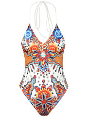 Colorful-Printed-Halter-Lace-Up-One-Piece