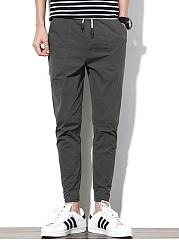 Mens-Plain-Drawstring-Pocket-Slim-Leg-Casual-Pants