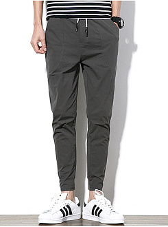 Mens Plain Drawstring Pocket Slim-Leg Casual Pants