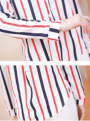 Autumn Spring  Cotton  Women  V-Neck  Striped  Long Sleeve Blouses
