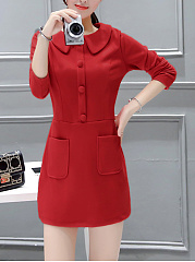 Doll Collar Plain Patch Pocket Bodycon Dress
