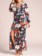Deep V-Neck  High Slit  Printed Plus Size Midi & Maxi Dress
