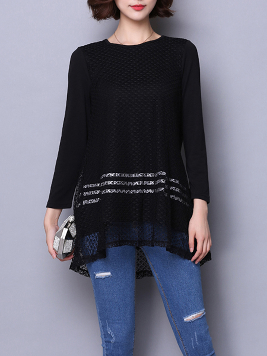 Round Neck Hollow Out Striped Long Sleeve T-Shirt