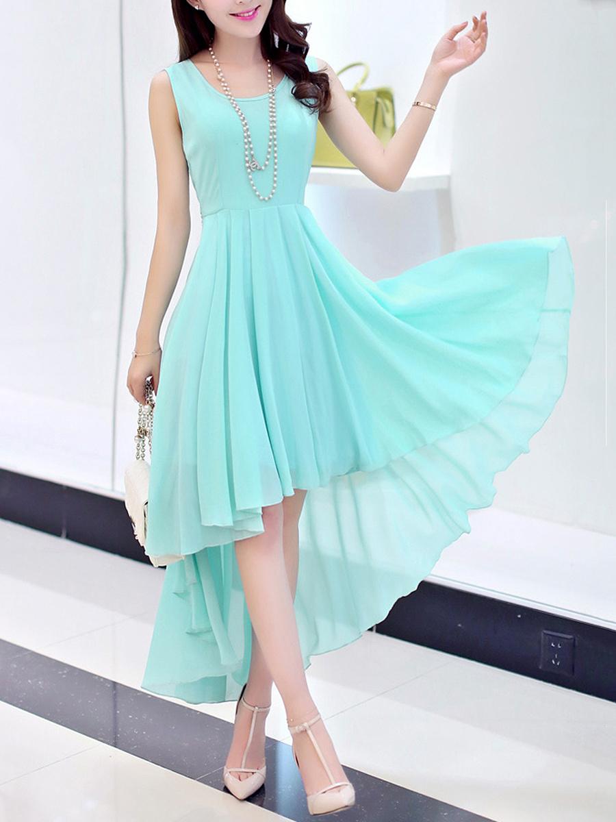 High-Low Round Neck  Bowknot  Plain  Chiffon Maxi Dress