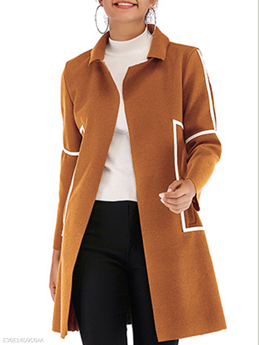 Fold-Over Collar  Plain Coats