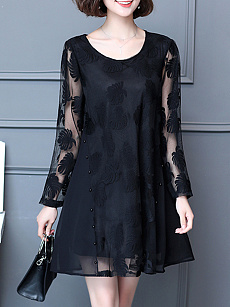 Round Neck  See-Through  Embossed  Polyester Shift Dress