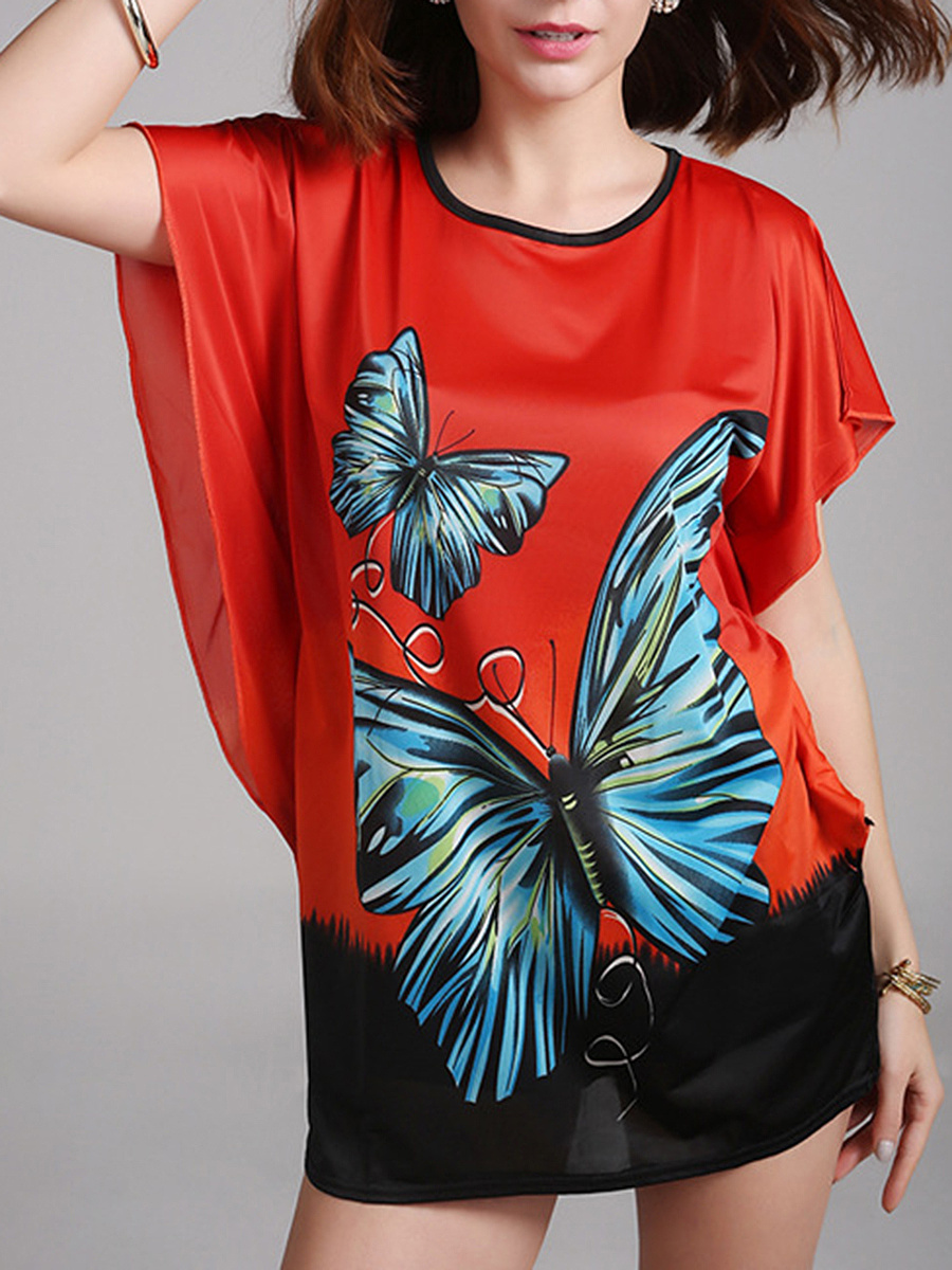 Color Block Butterfly Printed Mini Shift Dress