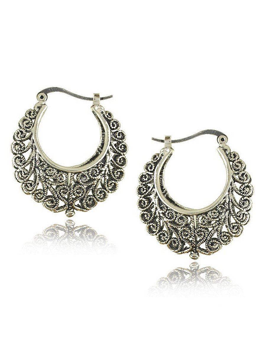 Sterling Silver Hollow Out Earring