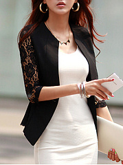 Single Button  Hollow Out Plain Blazer