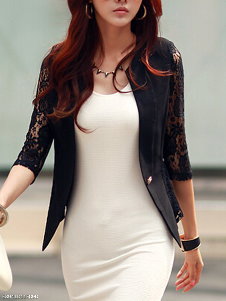 Decorative Lace  Single Button  Hollow Out Plain  Three-Quarter Sleeve Blazers