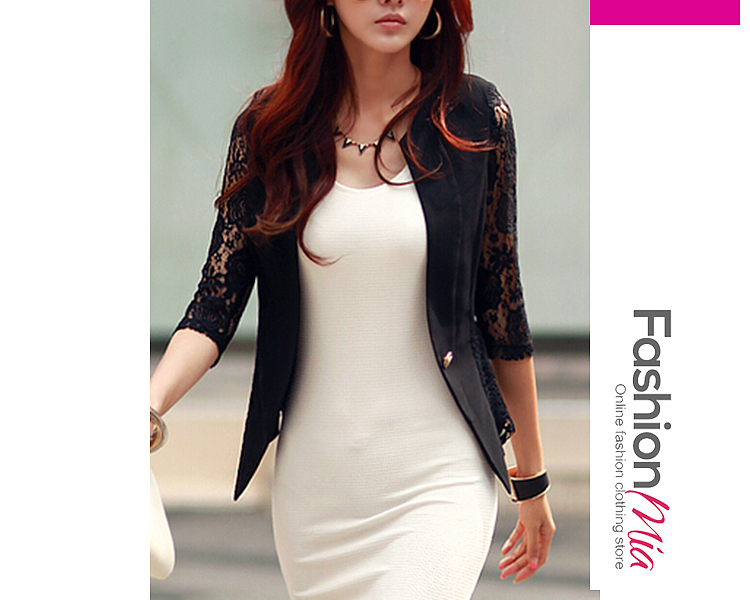 gender:women, hooded:no, thickness:thin, brand_name:fashionmia, outerwear_type:blazer, style:elegant, material:polyester, sleeve:three-quarter sleeve, embellishment:decorative lace, more_details:single button, pattern_type:hollow out,plain, how_to_wash:cold  hand wash, occasion:date,office, season:autumn, package_included:top*1, lengthshouldersleeve lengthbust