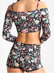 Long Sleeve Printed And Romantic Bikinis