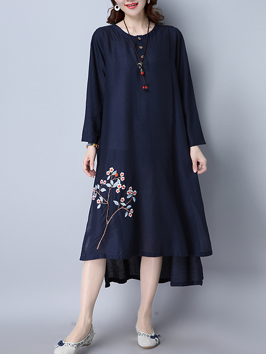 Oversized Embroidery High-Low Round Neck Maxi Dress