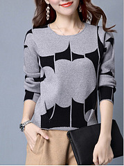 Round-Neck-Print-Pullover