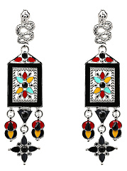 Colorful Tribal Style Drop Earrings