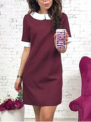 Doll Collar  Color Block Shift Dress
