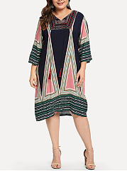 V-Neck  Patchwork  Geometric Plus Size Midi & Maxi Dress