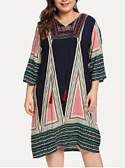 V-Neck  Patchwork  Geometric Plus Size Midi  Maxi Dress