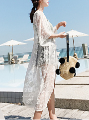 Longline See-Through Embroidery Plain Kimono