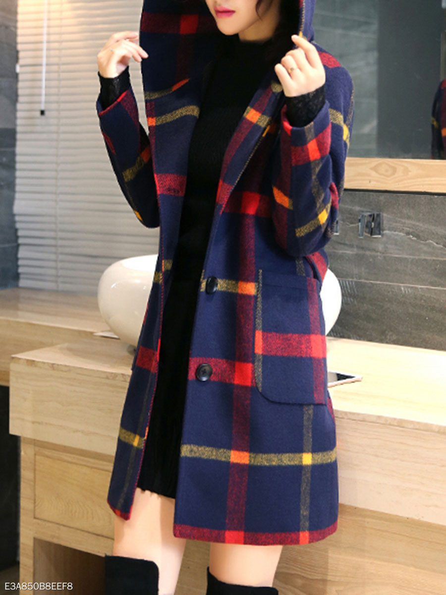 Hooded Plaid Patch Pocket Single Breasted Woolen Coat