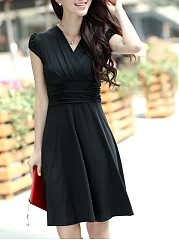 V-Neck Plain Empire Skater Dress