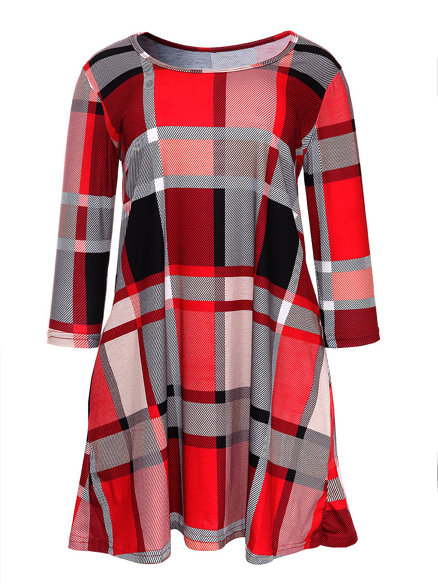 Round Neck Plaid Pocket Mini Shift Dress