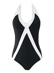 Black-White-Halter-Color-Block-One-Piece