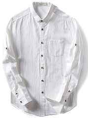 Turn Down Collar  Plain Men Shirt