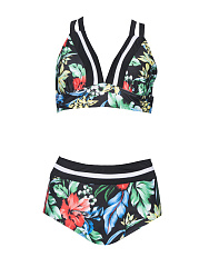 V Neck  Lace Up  Floral Printed Bikini