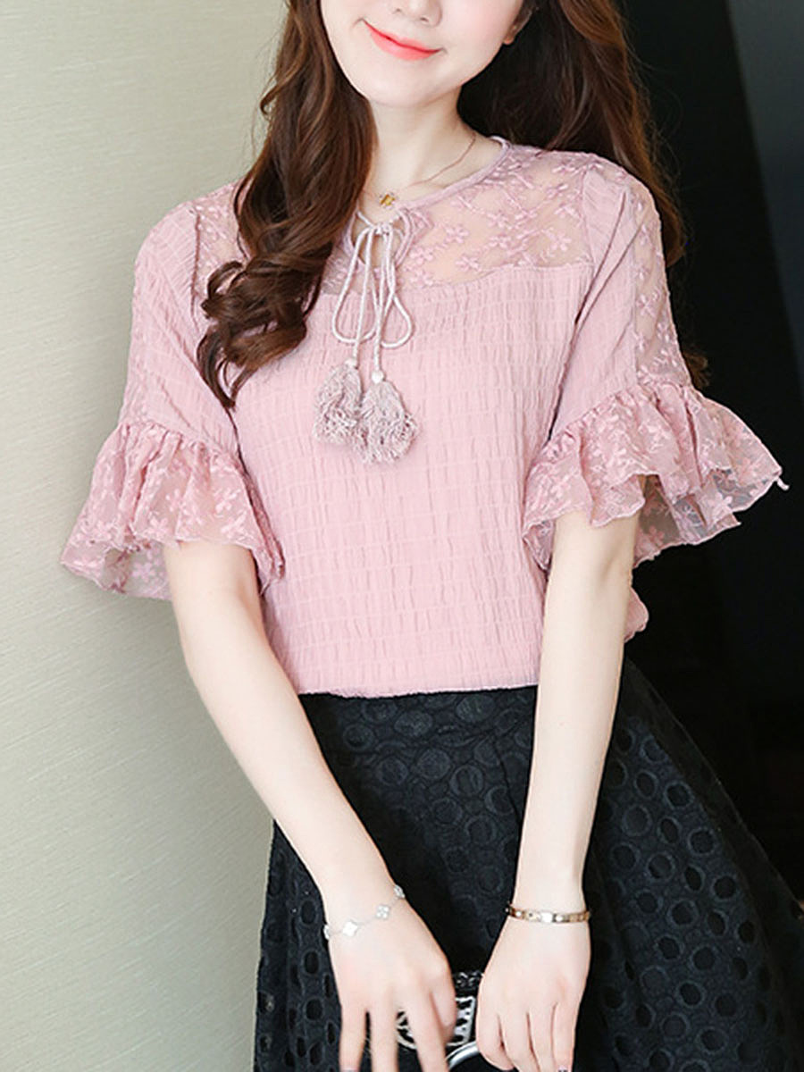 Tie Collar Hollow Out Plain Bell Sleeve Blouse