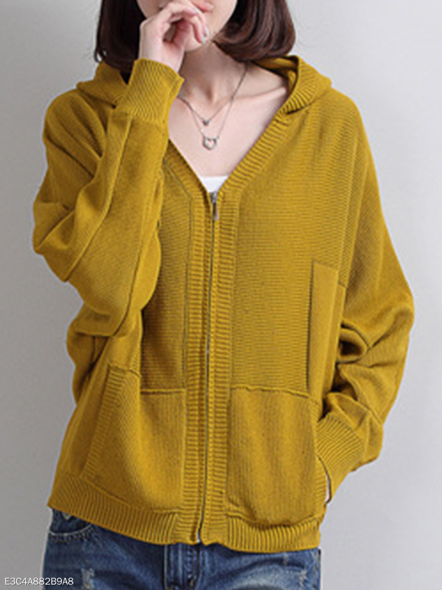Hooded  Plain  Bell Sleeve Knit Cardigans