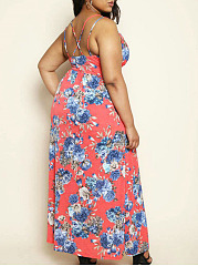 Deep V-Neck  Slit  Bust Darts  Floral Printed Plus Size Midi & Maxi Dresses