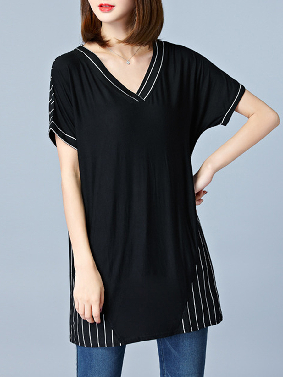 V-Neck Vertical Striped Short Sleeve T-Shirt