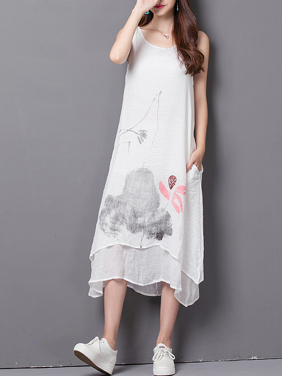 Round Neck Pocket  Printed Sleeveless Maxi Dress