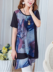 Summer  Chiffon  Women  Round Neck  Printed  Short Sleeve Blouses