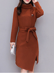 Turtleneck  Asymmetric Hem Slit  Belt  Plain Bodycon Dress