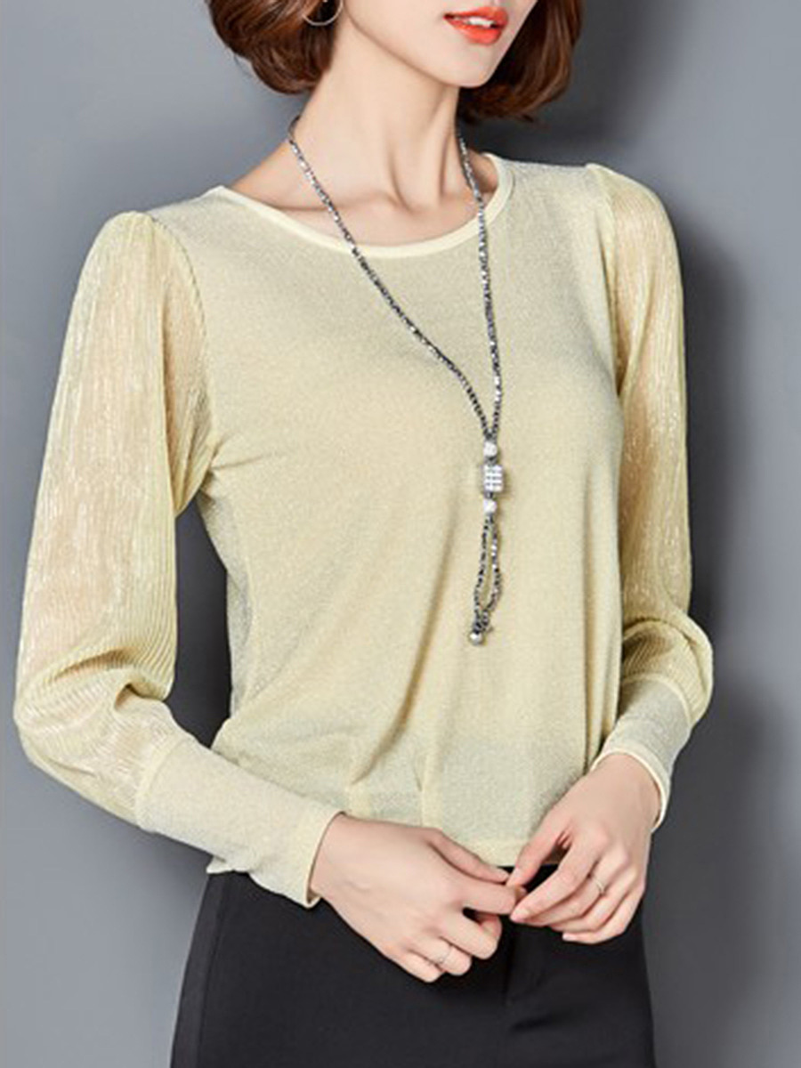 Sparkling Hollow Out Plain Blouse