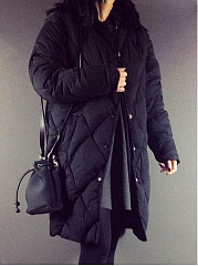 Collarless Single Breasted Quilted Plain Padded Coat