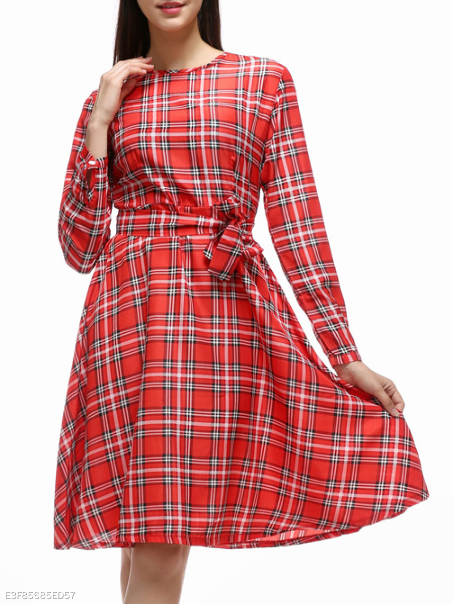 Removable Tie  Plaid  Flared Skater Dress