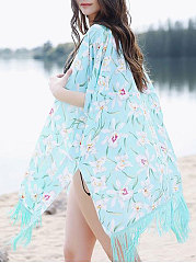 Backless Floral Printed  Three-Quarter Sleeve Kimono For Women