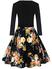 Retro Floral Printed Round Neck Swing Dress