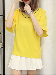 Summer  Chiffon  Women  V-Neck  Contrast Piping  Plain  Bell Sleeve  Short Sleeve Blouses